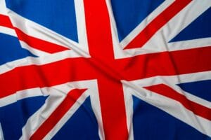 Photo of rippled flag of Great Britain